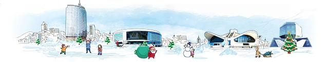 Панорама Минска карандашом зима